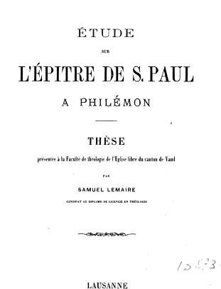 etude biblique de la lettre de paul a philemon pdf